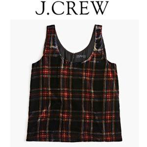 J Crew Velvet Red and Black Plaid Tank Size 4